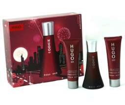 Hugo Boss zestaw Deep  Red 50ml perfumy+żel+balsam