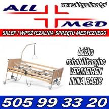Łóżko rehabilitacyjne elektryczne Vermeiren Luna Basic sterowane pilotem.